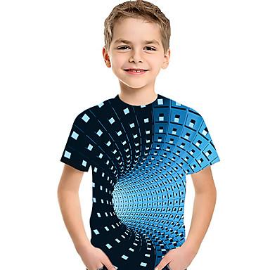 cheap Baby & Kids-Kids Toddler Boys' Active Basic Geometric Print Color Block Print Short Sleeve Tee Black