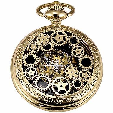 olcso Zsebóra-férfi vintage arany felszerelés steampunk csontváz mechanikus zsebóra lánccal a legjobb ajándék (arany felszerelés ch20)