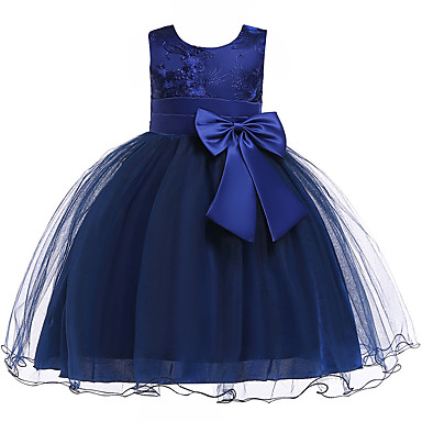 cheap Baby & Kids-Kids Girls' Cute Geometric Solid Colored Lace Bow Sleeveless Knee-length Dress Blue