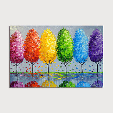 cheap Oil Paintings-Hand Painted Canvas Oil Painting Abstract Color Trees Home Decoration With Frame Painting Ready To Hang With Stretched Frame