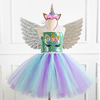 cheap Baby & Kids-Kids Girls' Vintage Cute Unicorn Rainbow Patchwork Halloween Sequins Mesh Patchwork Sleeveless Knee-length Dress Gold