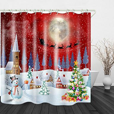 povoljno Dom i vrt-Božić snježno bijeli grad Božićno drvce digitalni tisak tuš zavjese tuš zavjese& kuke modernog poliestera novi dizajn