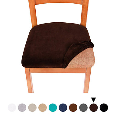 cheap Slipcovers-1 Set of 2 pcs Solid Color Velvet Dining Chair Seat Covers, Stretch Fitted Dining Room Upholstered Chair Seat Cushion Cover,Removable Washable Furniture Protector Slipcovers with Ties