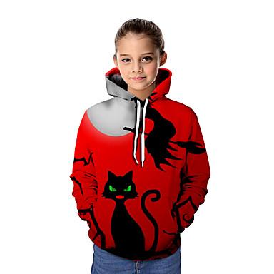 cheap Girls' Hoodies & Sweatshirts-Kids Girls' Basic Tie Dye Halloween Long Sleeve Hoodie & Sweatshirt Red