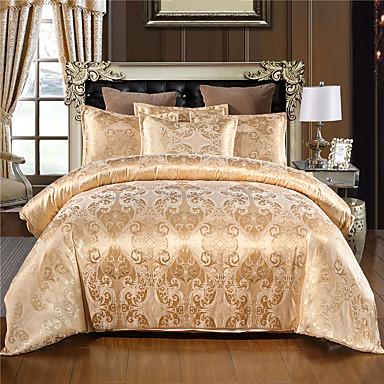 billiga Hemtextil-täcke täcker uppsättningar lyxig silke / bomull jacquard 3 st sängkläder set med örngott sänglinne lakan dubbla dubbelsäng king size täcke sängkläder