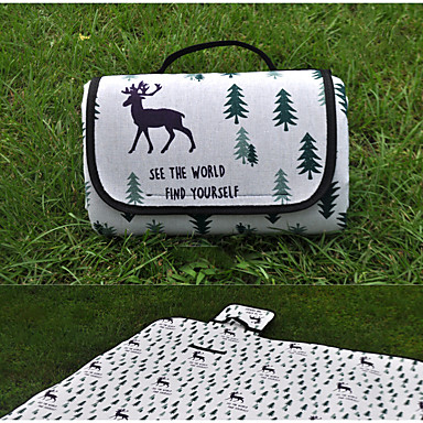 cheap Sleeping Bags & Camp Bedding-Camping Pad Picnic Pad Outdoor Camping Portable Moistureproof Collapsible PEVA Cotton / Linen Blend EPE Foam 200*150 cm for 6 pcs Camping All Seasons White Black Grey