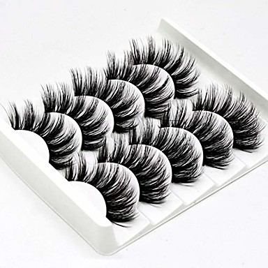 cheap Makeup & Skin Care-5 pairs 3d false eyelashes handmade ultra light synthetic fibers 3d mink fake eyelashes reusable soft nature fluffy wispies long lashes with volume makeup eye lash extension set (3d-b)