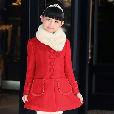 cheap Baby & Kids-Kids Girls' Daily Patchwork Long Sleeve Long Jacket & Coat Red
