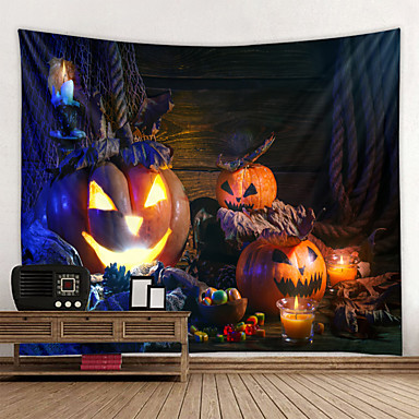 cheap Wall Tapestries-Halloween Wall Tapestry Art Decor Blanket Curtain Picnic Tablecloth Hanging Home Bedroom Living Room Dorm Decoration Psychedelic Scary Pumpkin Polyester