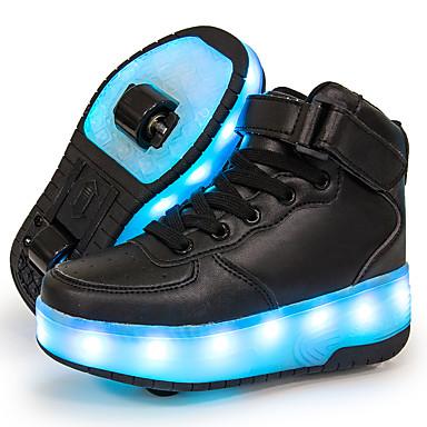voordelige LED Schoenen-Jongens / Meisjes Sneakers Oplichtende schoenen / Opladen via USB / Lichtgevende glasvezel schoenen Leer / Synthetisch Paillet Big Kids (7jaar +) Wandelen Pailletten / LED / Lichtgevend Wit / Zwart