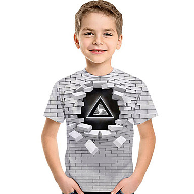 cheap Boys' Tops-Kids Toddler Boys' Active Basic Geometric 3D Print Short Sleeve Tee Light gray