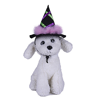 cheap Dog Clothes-Dog Halloween Costumes Bandanas & Hats Patchwork Witch Party Cute Christmas Party Dog Clothes Breathable Purple Costume Polyster One-Size