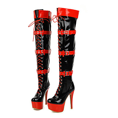 cheap Women's Boots-Women's Cosplay Boots Over-The-Knee Boots Plus Size Platform High Heel Stiletto Heel Sexy Christmas Halloween Party & Evening Color Block PU Leather White / Black / Red