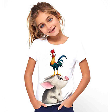 hesapli Kids CollectionUnder $8.99-Çocuklar Genç Kız Temel Tatil Hayvan Desen Kısa Kollu Tişört Beyaz