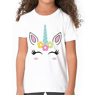 cheap Girls' Tops-Kids Girls' Basic White Animal Print Short Sleeve Tee White