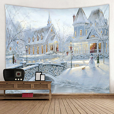 cheap Wall Tapestries-Ice and Snow Villa Digital Printing Tapestry Classic Theme Wall Decor 100% Polyester Contemporary Wall Art Wall Tapestries Decoration