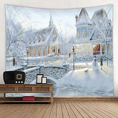 abordables Tapisseries murales-glace et neige villa impression numérique tapisserie thème classique décoration murale 100% polyester art mural contemporain tapisseries murales décoration