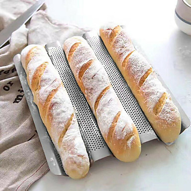 cheap Baking & Pastry Tools-3 Grid Silver Baguette Mold Baking Oven with Long Baguette Mold Home Baking Utensils Non-stick Baking Mold Kitchen Badgets