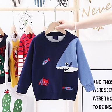 cheap Baby & Kids-Kids Boys' Basic Animal Long Sleeve Sweater & Cardigan Red