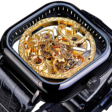cheap Men's Watches-FORSINING Men's Mechanical Watch Automatic self-winding Vintage Style Casual Hollow Engraving Leather Black / Silver / Gold Analog - Black / Yellow Black+Grey Blue Two Years Battery Life