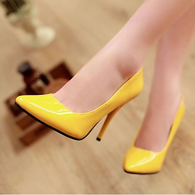 cheap Women's Heels-Women's Heels Plus Size Pumps Pointed Toe Business Classic Basic Daily Office & Career Solid Colored Patent Leather Summer Black / Yellow / Red