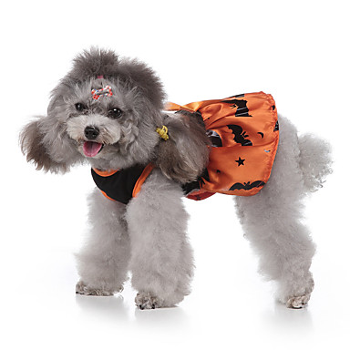 cheap Dog Clothes-Dog Halloween Costumes Costume Shirt / T-Shirt Print Bat Cosplay Cool Christmas Party Dog Clothes Breathable Yellow Costume Polyester S M L XL