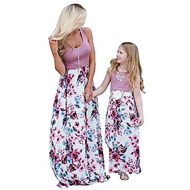 billige Familie-tøjsæt-4. juli, amerikansk flag, mor og mig, stribe, syning, strand maxi kjoler (lilla, xl)