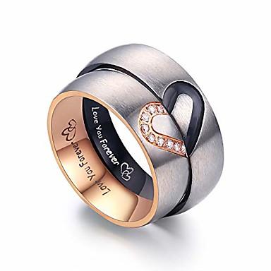 olcso Párok ékszerek-megfelelő ígéretgyűrűk párok számára örökké szeretnek esküvői zenekarkészleteket neki és félszívű gyűrűi rozsdamentes acélból 6 mm-es, kényelmes dobozban (férfiak 14& nők 8)