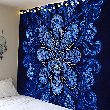 cheap Wall Tapestries-Mandala pattern wall hanging tapestry camping travel mat sunrise oil painting yoga mat sleeping mat beach blanket with blue flowers blooming Indian