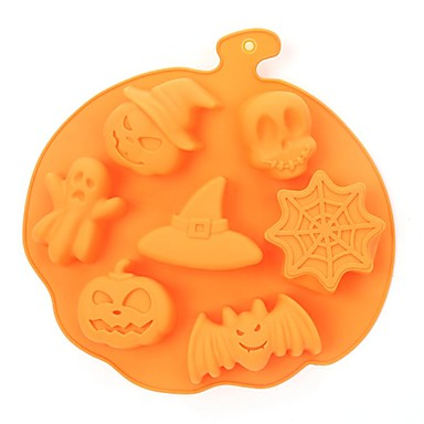cheap Spooky Kitchen-Halloween Party Halloween Holiday Style Silicone Cake Mold 7 Cavities Pumpkin Ghost Bat Shape Cookies Chocolate Molds DIY Cake Baking Tools