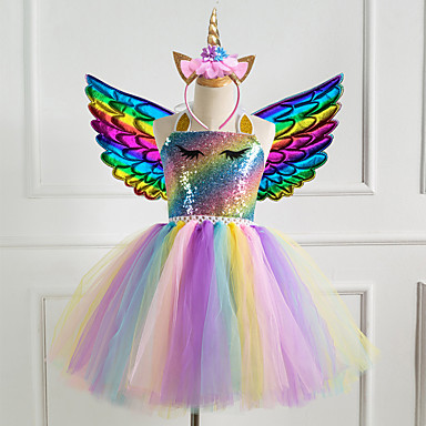 cheap Baby & Kids-Kids Girls' Vintage Sophisticated Unicorn Rainbow Patchwork Halloween Sequins Mesh Patchwork Sleeveless Knee-length Dress Blue