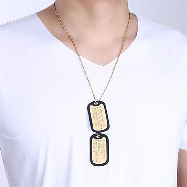 olcso Vésett nyakláncok-Személyre Személyre szabott Nyaklánc medálok Rozsdamentes acél Téglalap 1db / csomag Aranyozott Fekete Ezüst