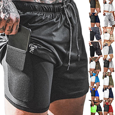 cheap Running, Jogging & Walking-Men's Running Shorts Sports Bottoms 2 in 1 with Phone Pocket Liner Fitness Gym Workout Running Breathable Quick Dry Moisture Wicking Plus Size Sport Cobalt Blue Navy fluorescent green White Black Red