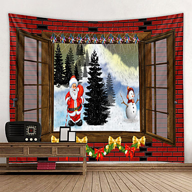 cheap Wall Tapestries-Christmas Santa Claus Wall Tapestry Art Decor Blanket Curtain Picnic Tablecloth Hanging Home Bedroom Living Room Dorm Decoration Window Snow Snowman Christmas Tree Polyester