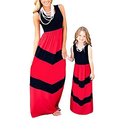 billige Familie-tøjsæt-mor og datter stribe syning kjole afslappet boho maxi sommer strand kjole sort + rød 5-6t