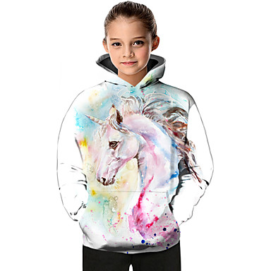 cheap Girls' Hoodies & Sweatshirts-Kids Toddler Girls' Active Basic Fantastic Beasts Unicorn Geometric Color Block Animal Print Long Sleeve Hoodie & Sweatshirt White