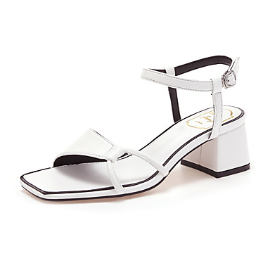 cheap Women's Sandals-Women's Sandals Block Heel Open Toe Classic Casual Sweet Daily Home Buckle Solid Colored Faux Leather Dark Red / White / Black