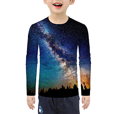 cheap Baby & Kids-Kids Boys' Active Basic Galaxy 3D Print Long Sleeve Blouse Blue