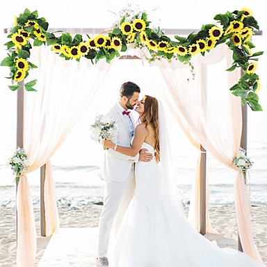 cheap Gifts & Decorations-30LED 2.4M Artificial Sunflower Garland Silk Fake Flowers Ivy Leaf Plants Home Decor Flower Wall Wreath