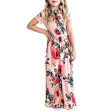 povoljno Beba & Djeca-djevojke cvjetni cvjetni kratki rukav na nabor casual ljuljačka duga maxi haljina s džepovima za djecu ružičasta, 5-6 godina