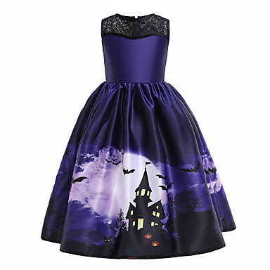 cheap Baby & Kids-Kids Girls' Vintage Sweet Halloween Print Sleeveless Midi Dress Purple