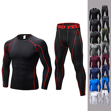 cheap Running, Jogging & Walking-YUERLIAN Men's 2-Piece Activewear Set Workout Outfits Compression Suit Athletic Long Sleeve Quick Dry Anatomic Design Breathability Fitness Gym Workout Basketball Running Jogging Sportswear Solid