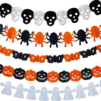 cheap Gifts & Decorations-Halloween Party Decoration Props Skeleton Ghost Spider Pull Flag Pumpkin Paper Pull Flower 1set