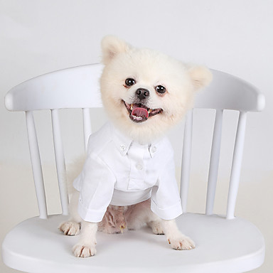 cheap Dog Clothes-Dog Tuxedo T-shirts Solid Colored Casual / Daily Cute Christmas Party Dog Clothes Breathable White Black Costume Cotton XS S M L XL XXL