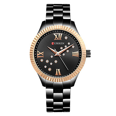 cheap Square & RectangularWatches-CURREN Women's Quartz Watches Quartz Modern Style Stylish Casual Water Resistant / Waterproof Stainless Steel Ceramic Black / Silver / Gold Analog - Rose Gold White+Gold White+Coffee One Year Battery