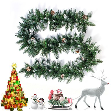 cheap Holiday & Party Decorations-270cm 106inch Pine Garland with Flocked Cones
