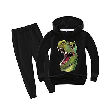 cheap Boys' Clothing Sets-Kids Boys' Sports & Outdoors Basic Holiday Daily Wear Vacation Dinosaur Print Print Long Sleeve Regular Regular Clothing Set Black