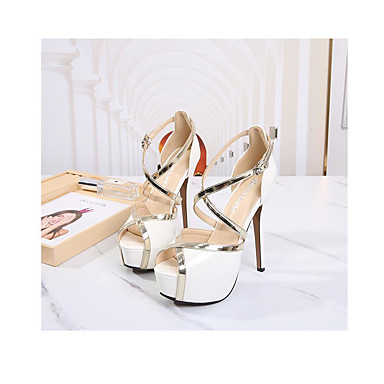 cheap Women's Heels-Women's Heels Stiletto Heel Peep Toe Casual Basic Sexy Daily Buckle Solid Colored PU Walking Shoes White / Black / Red