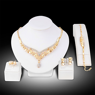 cheap Jewelry Sets-Women's Jewelry Set Bridal Jewelry Sets Cut Out Precious Fashion Gold Plated Earrings Jewelry Gold For Christmas Wedding Party Evening Gift Formal 1 set