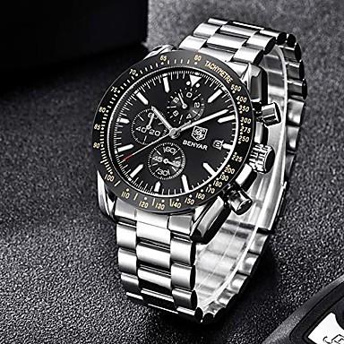 billige Smykker & Klokker-benyar kronograf armbåndsur for menn | klassisk design | kvartsbevegelse 30m vanntett | analog kvartsur | 22mm rustfritt stål | ripebestandig | litbwat
